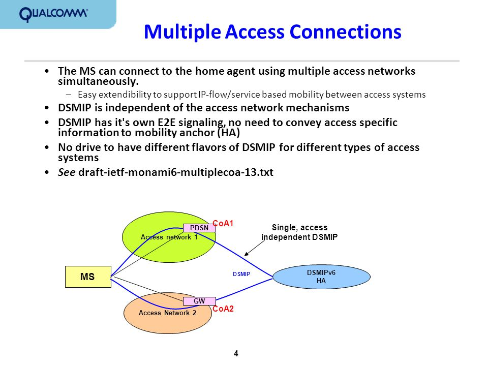 5 MIPv6 Defined in RFC3775, RFC 4877 and RFC 5026 MN and HA share an IPsec security association MN has one Home Address (HoA) which is bound to a Care-of Address (CoA) through Binding Update messages –HoA is IPv6 –CoA is IPv6 Implications –HoA is IPv6: only IPv6 applications can be used –CoA is IPv6: access network must support IPv6 – the MN cannot move into an IPv4-only access network (In current 3GPP2 networks, the MN can use IPv4/MIPv4 for IPv4 access network.)