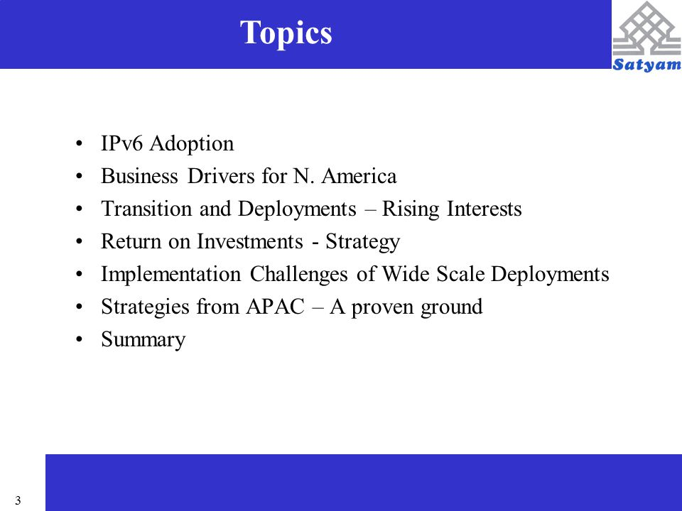 4 IPv6 on an As-Need Basis Prime Reason for Introduction – Additional Address Space in Wireless Data Providers and Asian public networks A means to leapfrog – government initiatives New Business Opportunities - Equipment vendors Justification of expenses to implement in hardware Gradual transitions based on Technical Requirements IPv6 Adoption - Analysts Believed … Slow Commercial Deployments on IPv6 Adoptions