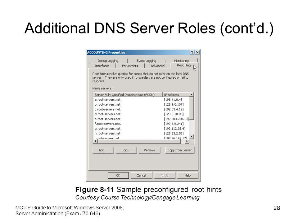 Additional DNS Server Roles (cont'd.) MCITP Guide to Microsoft Windows Server 2008, Server Administration (Exam #70-646) 28 Figure 8-11 Sample preconf
