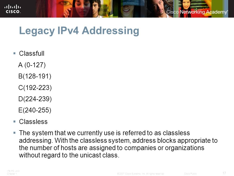 ITE PC v4.0 Chapter 1 17 © 2007 Cisco Systems, Inc. All rights reserved.Cisco Public Legacy IPv4 Addressing  Classfull A (0-127) B(128-191) C(192-223
