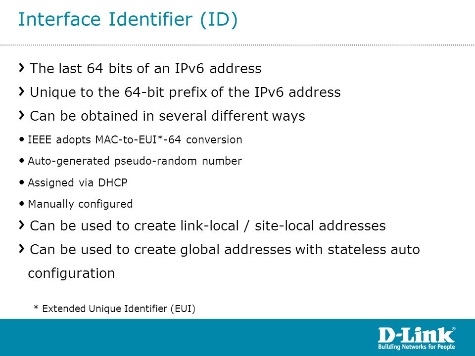 The last 64 bits of an IPv6 address Unique to the 64-bit prefix of the IPv6 address Can be obtained in several different ways IEEE adopts MAC-to-EUI*-