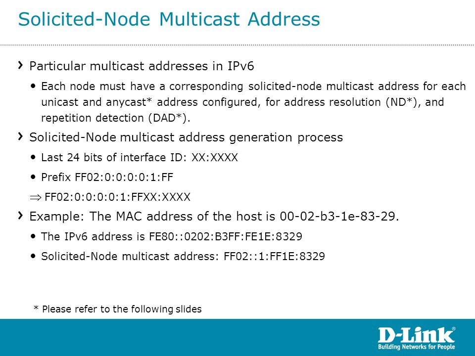 Particular multicast addresses in IPv6 Each node must have a corresponding solicited-node multicast address for each unicast and anycast* address conf