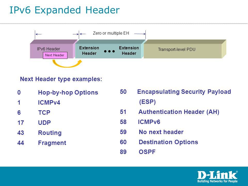 Transport-level PDU IPv6 Header Extension Header Extension Header Zero or multiple EH 0 Hop-by-hop Options 1 ICMPv4 6 TCP 17 UDP 43 Routing 44 Fragmen