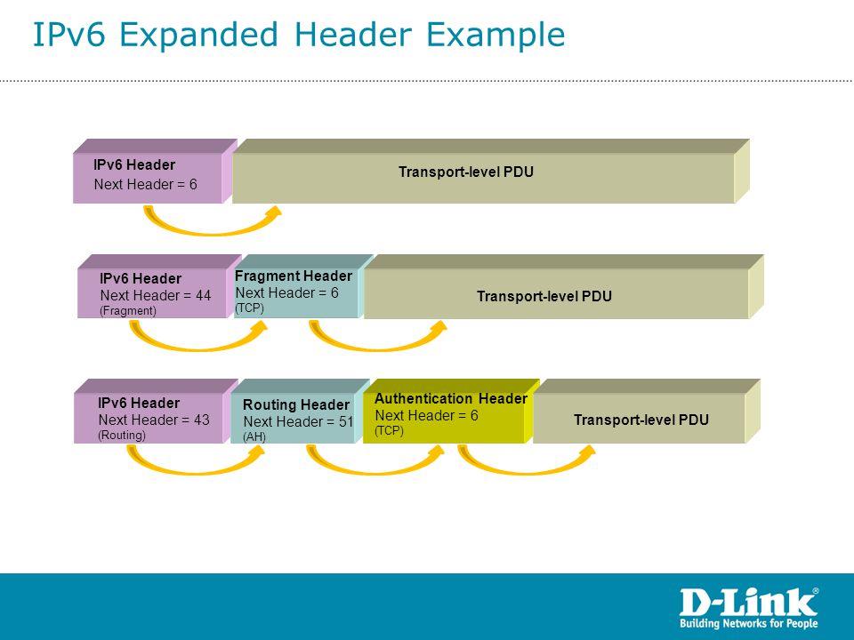 Transport-level PDU IPv6 Header Next Header = 6 Transport-level PDU IPv6 Header Next Header = 44 (Fragment) IPv6 Header Next Header = 43 (Routing) Fra