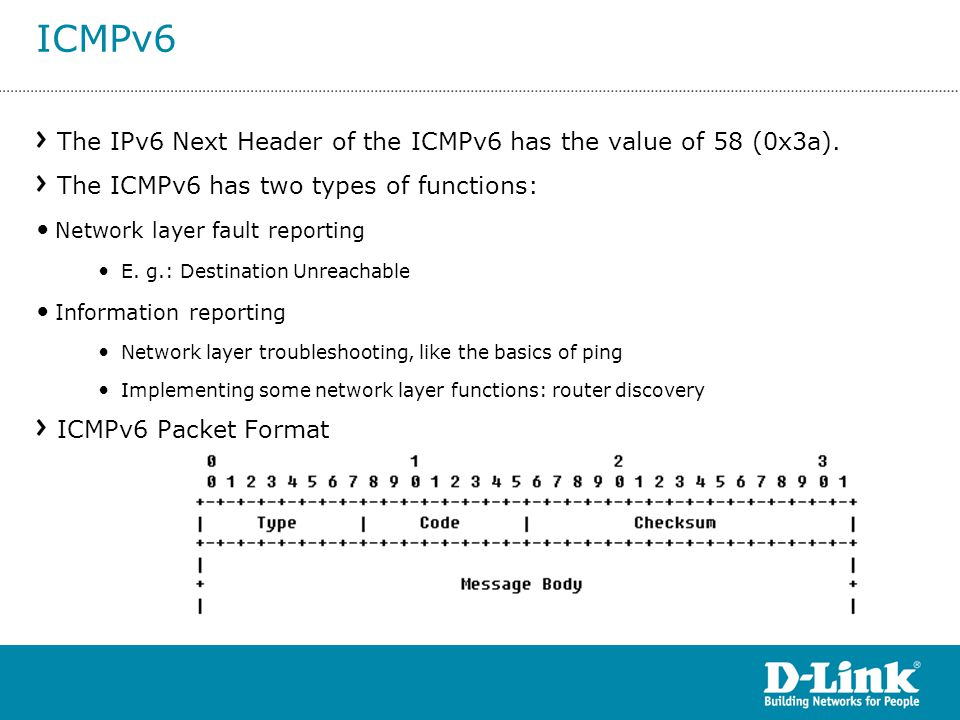 The IPv6 Next Header of the ICMPv6 has the value of 58 (0x3a). The ICMPv6 has two types of functions: Network layer fault reporting E. g.: Destination