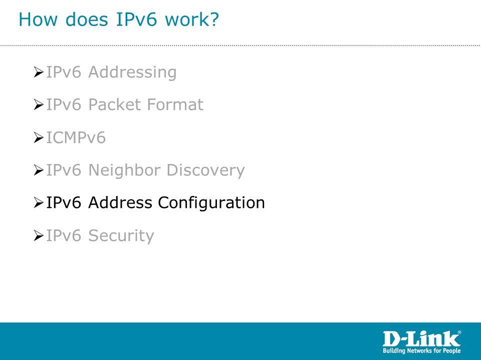  IPv6 Addressing  IPv6 Packet Format  ICMPv6  IPv6 Neighbor Discovery  IPv6 Address Configuration  IPv6 Security How does IPv6 work?