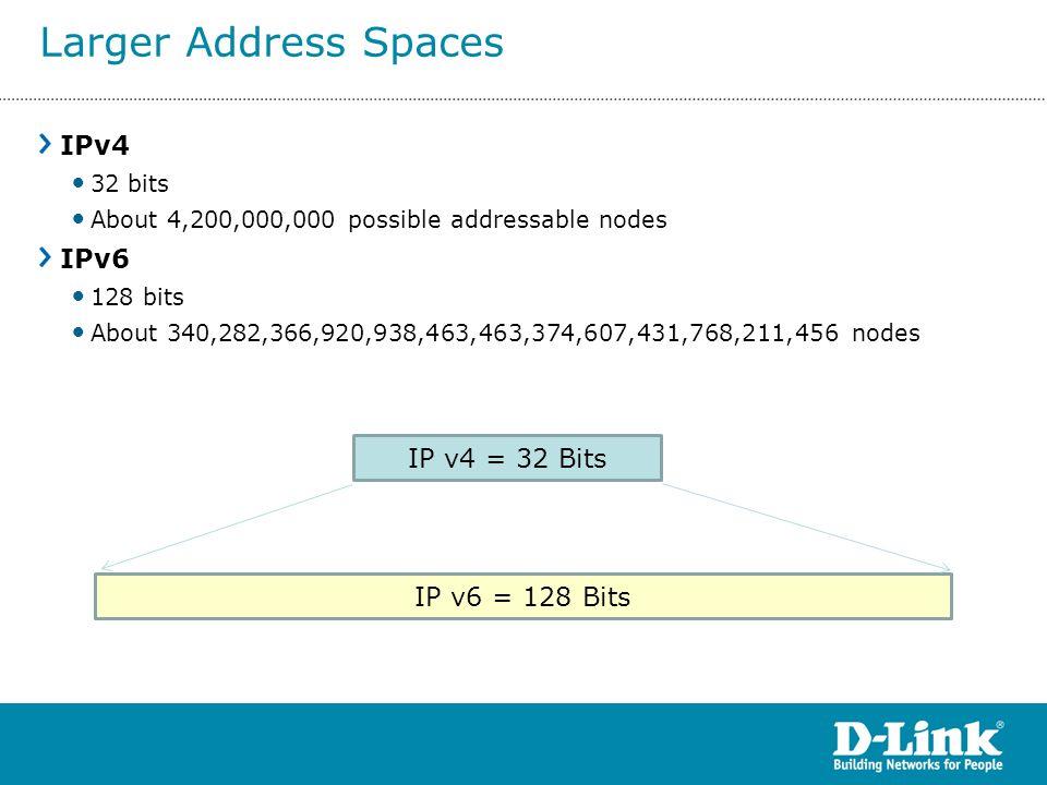 IPv4 32 bits About 4,200,000,000 possible addressable nodes IPv6 128 bits About 340,282,366,920,938,463,463,374,607,431,768,211,456 nodes IP v4 = 32 B