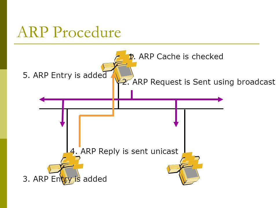 ARP Procedure 1. ARP Cache is checked 2. ARP Request is Sent using broadcast 3.