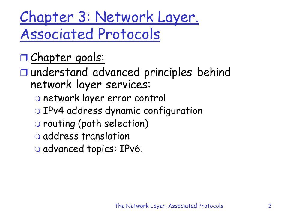 The Network Layer. Associated Protocols2 Chapter 3: Network Layer.