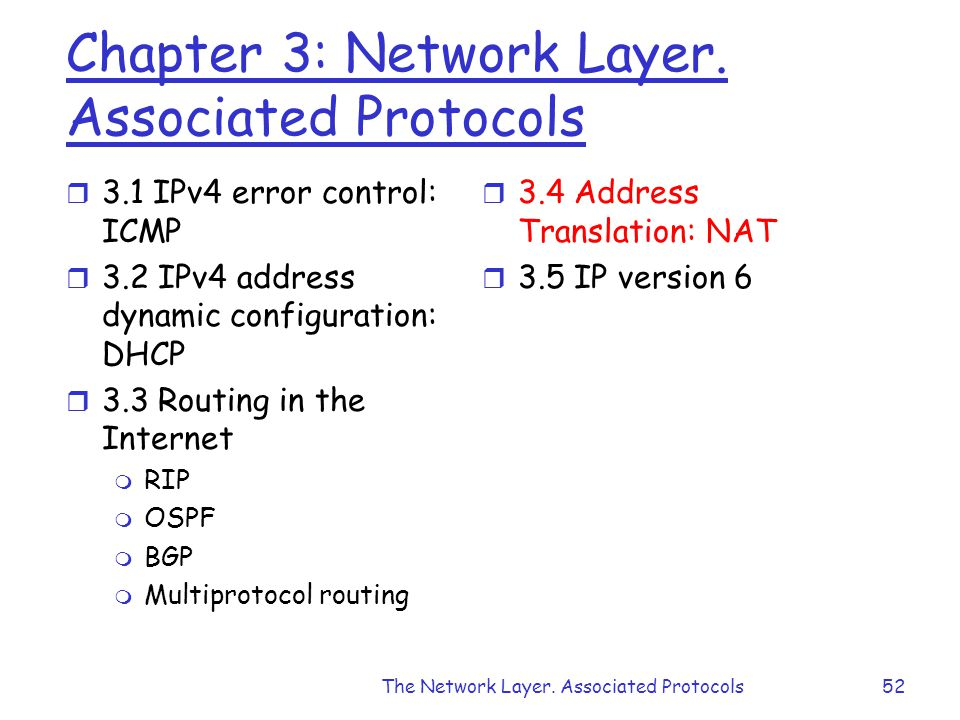 The Network Layer. Associated Protocols52 Chapter 3: Network Layer.