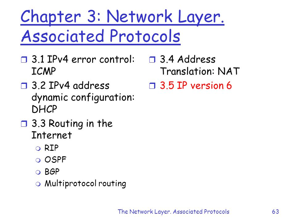 Chapter 3: Network Layer.