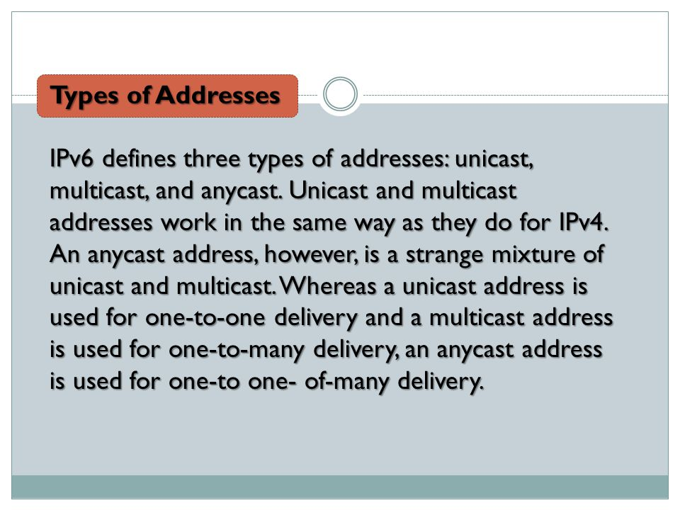 Types of Addresses IPv6 defines three types of addresses: unicast, multicast, and anycast.