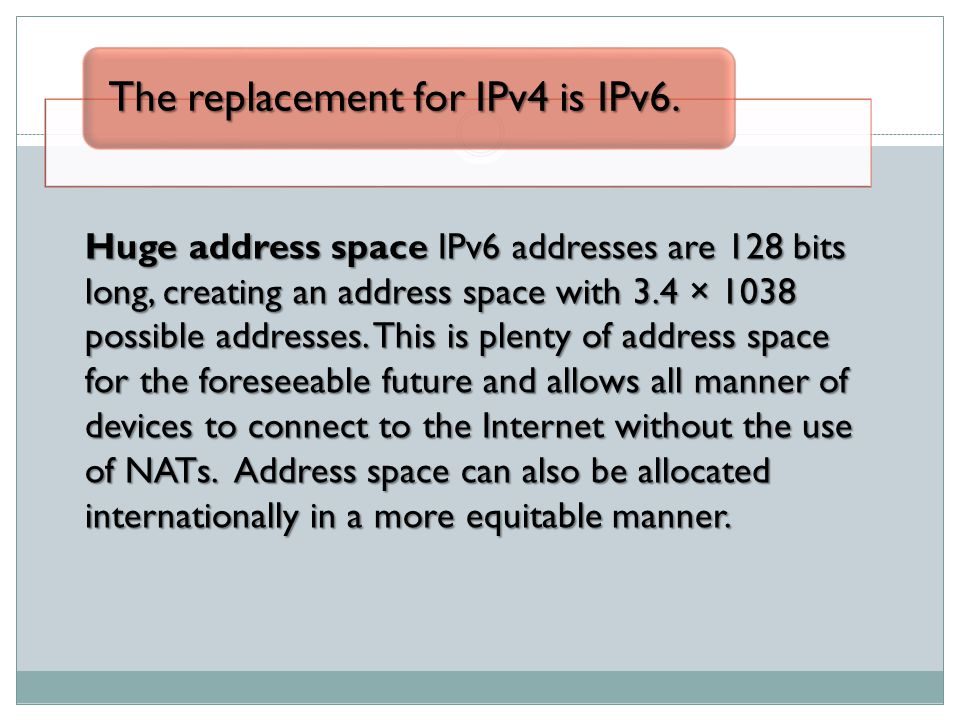 The replacement for IPv4 is IPv6.