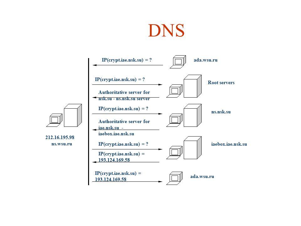 DNS ada.wsu.ruIP(crypt.iae.nsk.su) = .Root servers IP(crypt.iae.nsk.su) = .