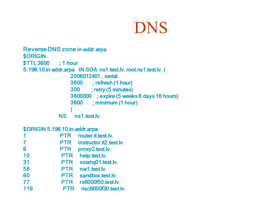 DNS Reverse DNS zone in-addr.arpa $ORIGIN. $TTL 3600 ; 1 hour 5.196.10.in-addr.arpa IN SOA ns1.test.lv. root.ns1.test.lv. ( 2006012401 ; serial 3600 ;