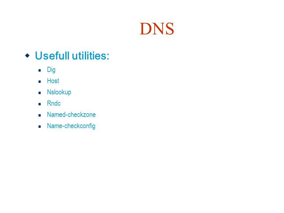 DNS  Usefull utilities: Dig Host Nslookup Rndc Named-checkzone Name-checkconfig