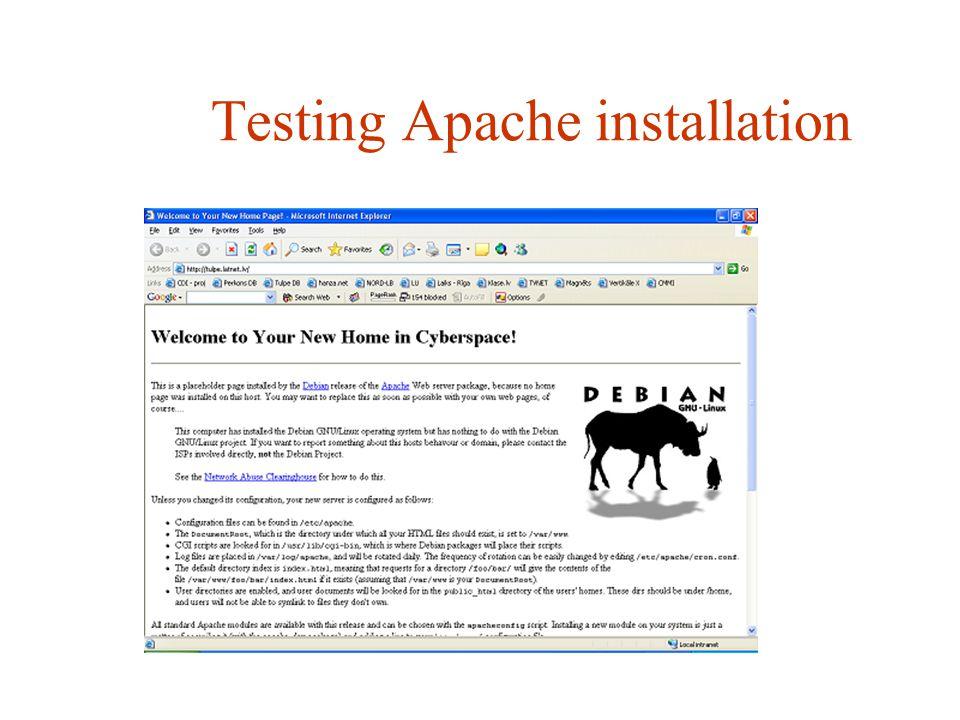Testing Apache installation