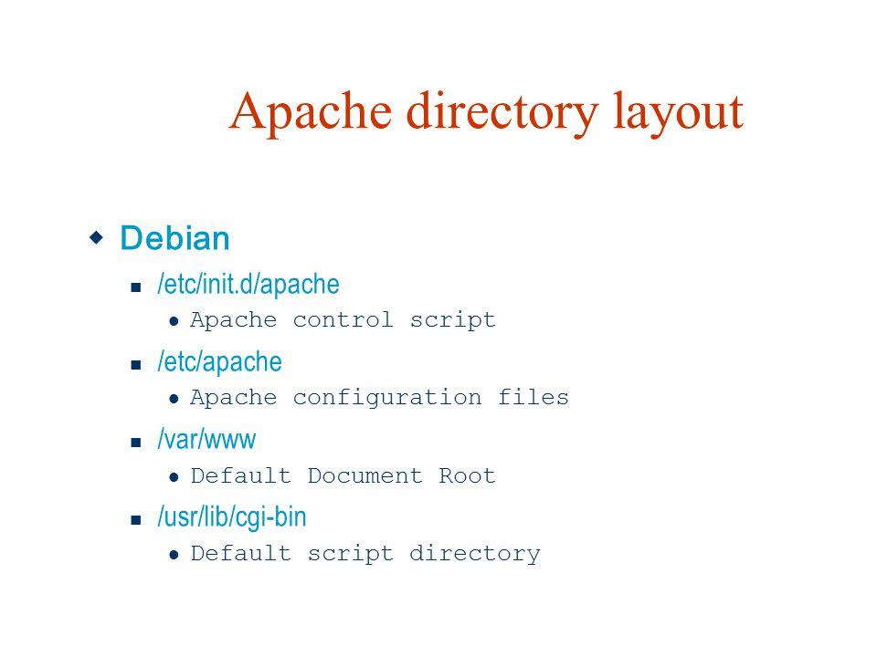 Apache directory layout  Debian /etc/init.d/apache Apache control script /etc/apache Apache configuration files /var/www Default Document Root /usr/lib/cgi-bin Default script directory