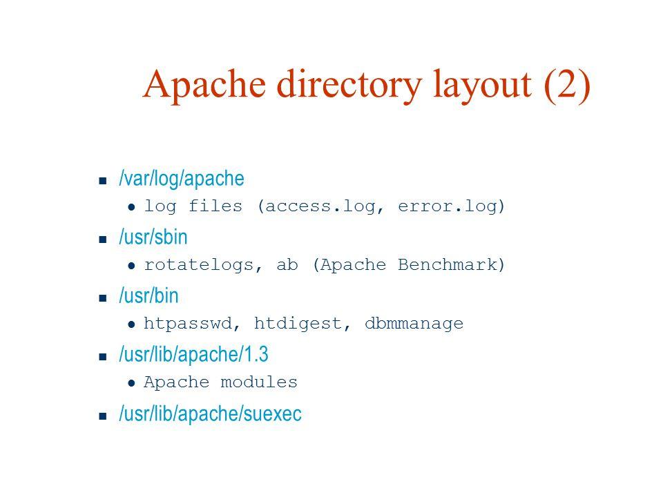 Apache directory layout (2) /var/log/apache log files (access.log, error.log) /usr/sbin rotatelogs, ab (Apache Benchmark) /usr/bin htpasswd, htdigest, dbmmanage /usr/lib/apache/1.3 Apache modules /usr/lib/apache/suexec