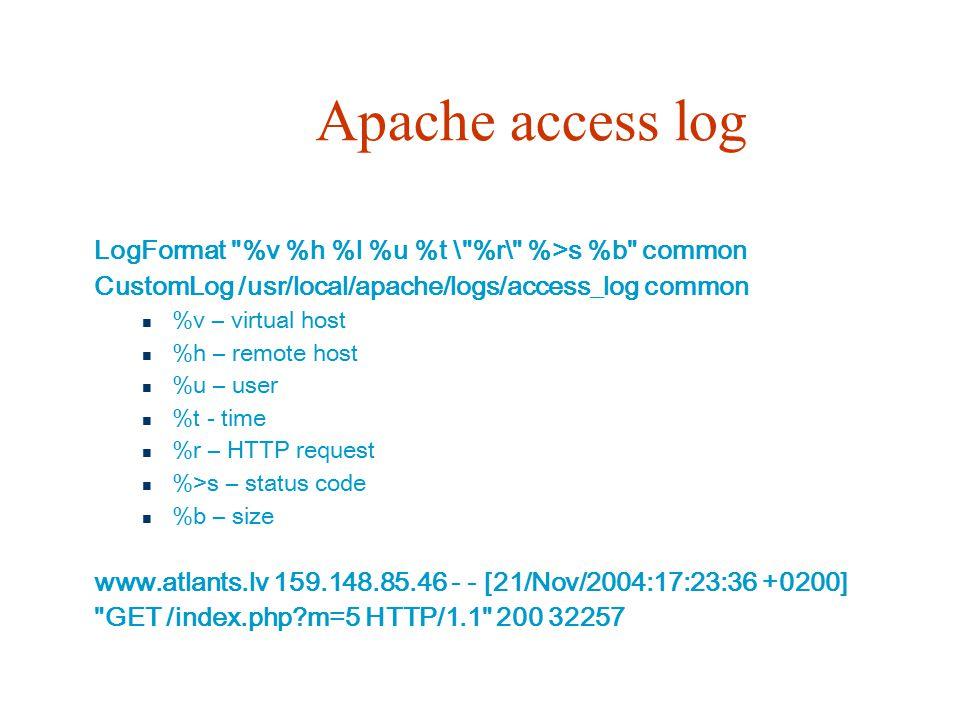 Apache access log LogFormat %v %h %l %u %t \ %r\ %>s %b common CustomLog /usr/local/apache/logs/access_log common %v – virtual host %h – remote host %u – user %t - time %r – HTTP request %>s – status code %b – size www.atlants.lv 159.148.85.46 - - [21/Nov/2004:17:23:36 +0200] GET /index.php?m=5 HTTP/1.1 200 32257
