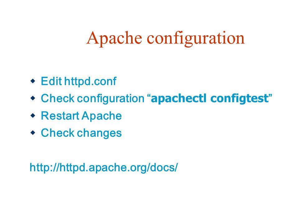Apache configuration  Edit httpd.conf  Check configuration apachectl configtest  Restart Apache  Check changes http://httpd.apache.org/docs/