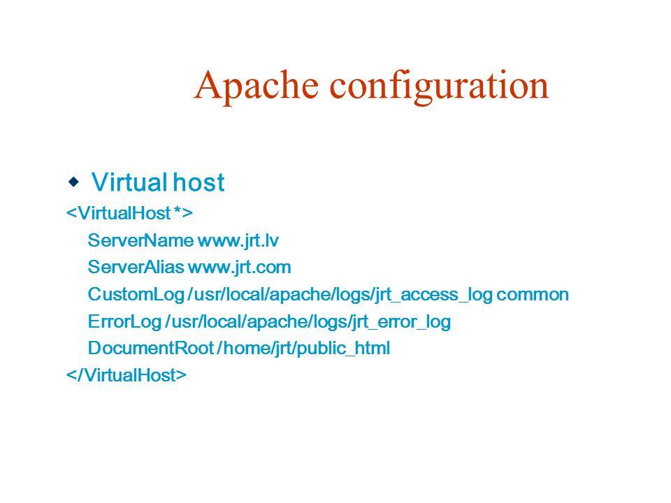 Apache configuration  Virtual host ServerName www.jrt.lv ServerAlias www.jrt.com CustomLog /usr/local/apache/logs/jrt_access_log common ErrorLog /usr/local/apache/logs/jrt_error_log DocumentRoot /home/jrt/public_html