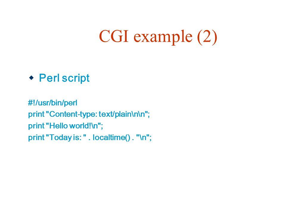 CGI example (2)  Perl script #!/usr/bin/perl print Content-type: text/plain\n\n ; print Hello world!\n ; print Today is: .