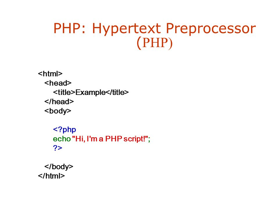 PHP: Hypertext Preprocessor ( PHP) Example