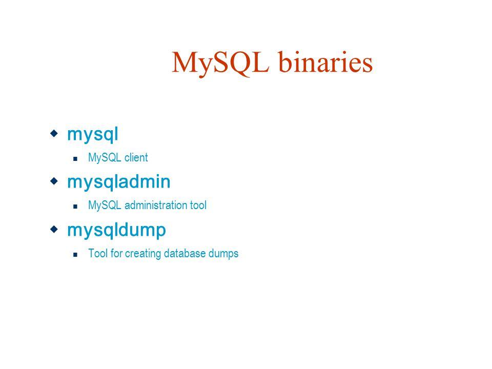MySQL binaries  mysql MySQL client  mysqladmin MySQL administration tool  mysqldump Tool for creating database dumps