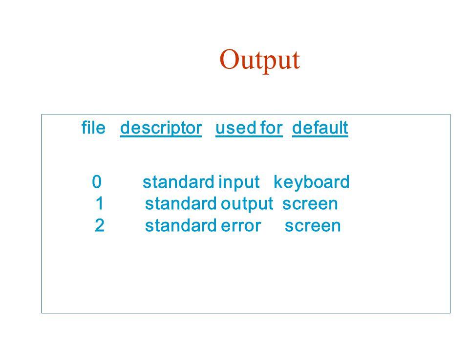 Output file descriptor used for default 0 standard input keyboard 1 standard output screen 2 standard error screen