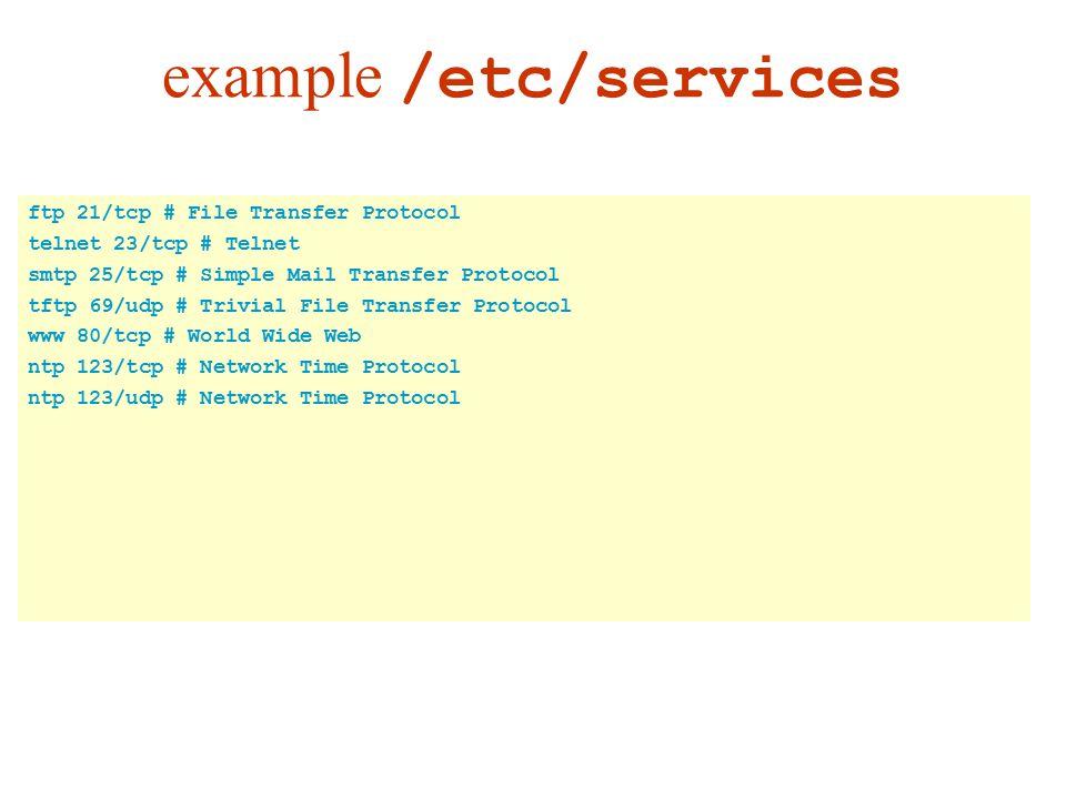 ftp 21/tcp # File Transfer Protocol telnet 23/tcp # Telnet smtp 25/tcp # Simple Mail Transfer Protocol tftp 69/udp # Trivial File Transfer Protocol www 80/tcp # World Wide Web ntp 123/tcp # Network Time Protocol ntp 123/udp # Network Time Protocol example /etc/services