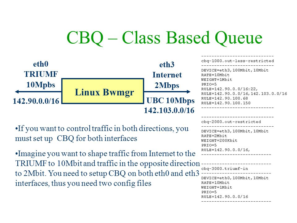 CBQ – Class Based Queue eth0 TRIUMF 10Mpbs Linux Bwmgr UBC 10Mbps 142.90.0.0/16 eth3 Internet 2Mbps If you want to control traffic in both directions,