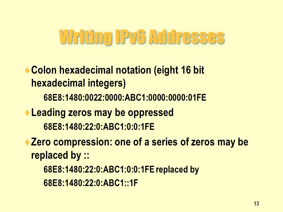 Writing IPv6 Addresses  Colon hexadecimal notation (eight 16 bit hexadecimal integers)  68E8:1480:0022:0000:ABC1:0000:0000:01FE  Leading zeros may be oppressed  68E8:1480:22:0:ABC1:0:0:1FE  Zero compression: one of a series of zeros may be replaced by ::  68E8:1480:22:0:ABC1:0:0:1FE replaced by  68E8:1480:22:0:ABC1::1F 13
