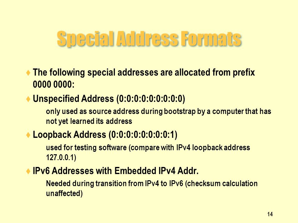 Special Address Formats  The following special addresses are allocated from prefix 0000 0000:  Unspecified Address (0:0:0:0:0:0:0:0:0)  only used as source address during bootstrap by a computer that has not yet learned its address  Loopback Address (0:0:0:0:0:0:0:0:1)  used for testing software (compare with IPv4 loopback address 127.0.0.1)  IPv6 Addresses with Embedded IPv4 Addr.