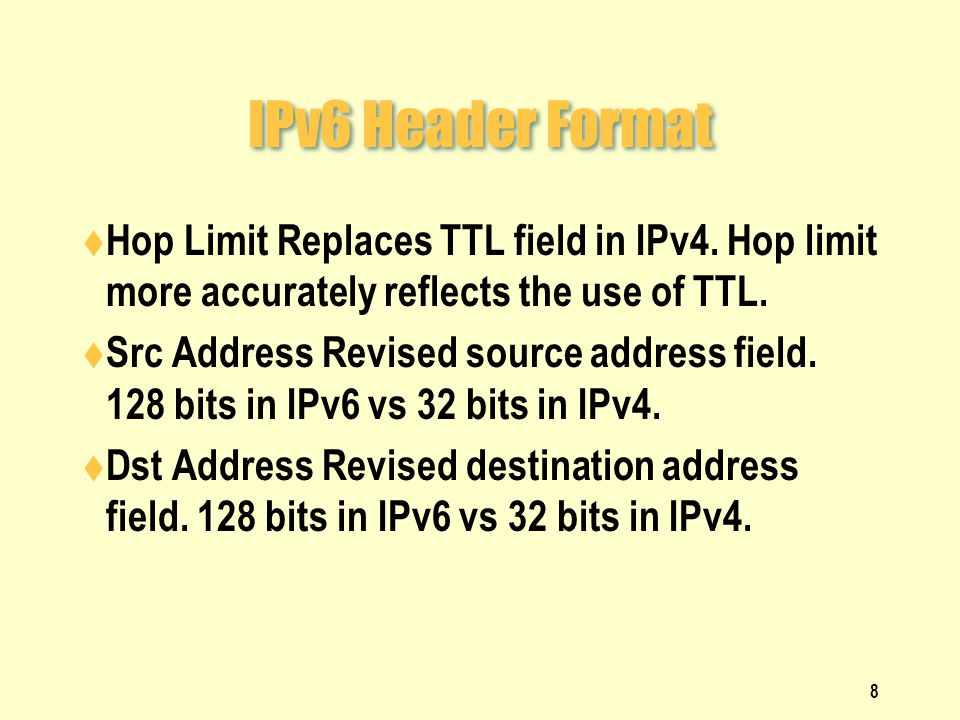 IPv6 Header Format  Hop Limit Replaces TTL field in IPv4.