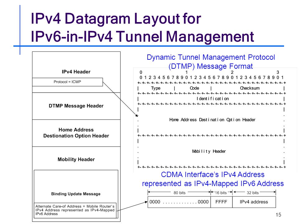 15 IPv4 Datagram Layout for IPv6-in-IPv4 Tunnel Management Dynamic Tunnel Management Protocol (DTMP) Message Format CDMA Interface's IPv4 Address represented as IPv4-Mapped IPv6 Address