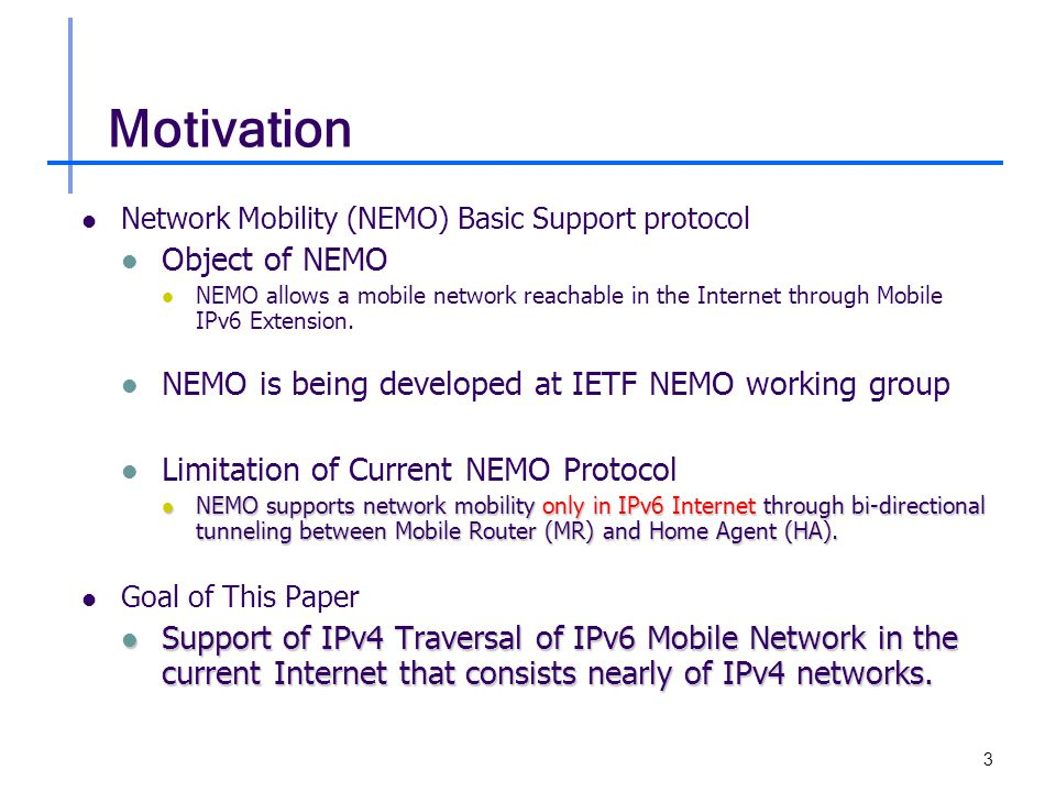 4 Network Mobility (NEMO) – 1/2 Role of NEMO Protocol Session Continuity of Mobile Network Node (MNN) Connectivity of MNN Reachability of MNN Location Management Key Idea of NEMO HA forwards data packets destined for Mobile Network.