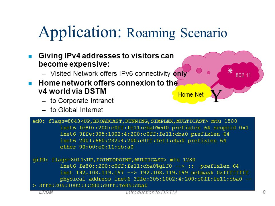 LT/OM Introduction to DSTM8 Home Net Y 802.11 Application: Roaming Scenario n Giving IPv4 addresses to visitors can become expensive: –Visited Network offers IPv6 connectivity only n Home network offers connexion to the v4 world via DSTM –to Corporate Intranet –to Global Internet ed0: flags=8843 mtu 1500 inet6 fe80::200:c0ff:fe11:cba0%ed0 prefixlen 64 scopeid 0x1 inet6 3ffe:305:1002:4:200:c0ff:fe11:cba0 prefixlen 64 inet6 2001:660:282:4:200:c0ff:fe11:cba0 prefixlen 64 ether 00:00:c0:11:cb:a0 gif0: flags=8011 mtu 1280 inet6 fe80::200:c0ff:fe11:cba0%gif0 --> :: prefixlen 64 inet 192.108.119.197 --> 192.108.119.199 netmask 0xffffffff physical address inet6 3ffe:305:1002:4:200:c0ff:fe11:cba0 -- > 3ffe:305:1002:1:200:c0ff:fe85:cba0