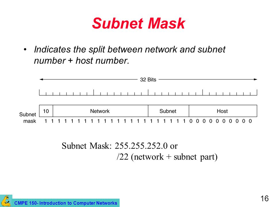 CMPE 150- Introduction to Computer Networks 16 Subnet Mask Indicates the split between network and subnet number + host number.