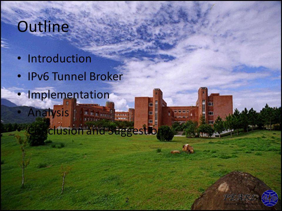 National Chi Nan University Introduction IPv6 – 4FE5:2F21:3512:77BB:AF23:3201:55AA:2F33/64 Transition Mechanisms from IPv4 into IPv6 – Dual IP Stack – Address Protocol Translation – Tunneling IPv6 over IPv4 (Static) – IPv6 Tunnel Broker (Dynamic) 3