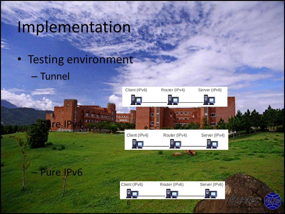 National Chi Nan University Implementation Testing environment – Tunnel – Pure IPv4 – Pure IPv6 6