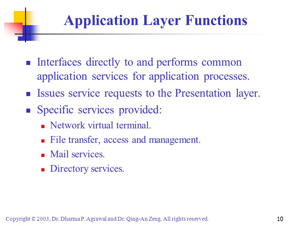 Copyright © 2003, Dr. Dharma P. Agrawal and Dr. Qing-An Zeng. All rights reserved. 10 Application Layer Functions Interfaces directly to and performs