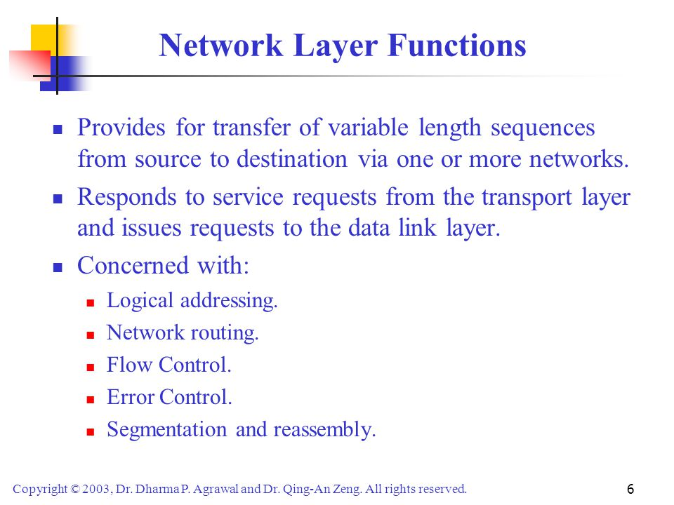 Copyright © 2003, Dr. Dharma P. Agrawal and Dr. Qing-An Zeng. All rights reserved. 6 Network Layer Functions Provides for transfer of variable length