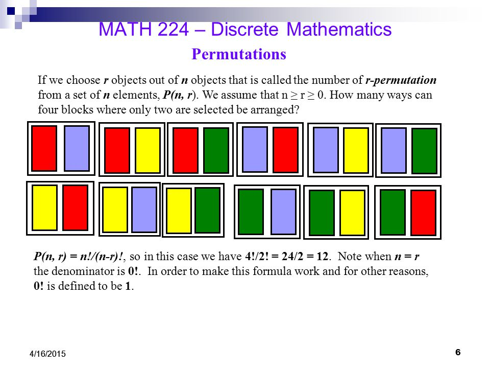 4/16/2015 MATH 224 – Discrete Mathematics Permutations If we choose r objects out of n objects that is called the number of r-permutation from a set of n elements, P(n, r).
