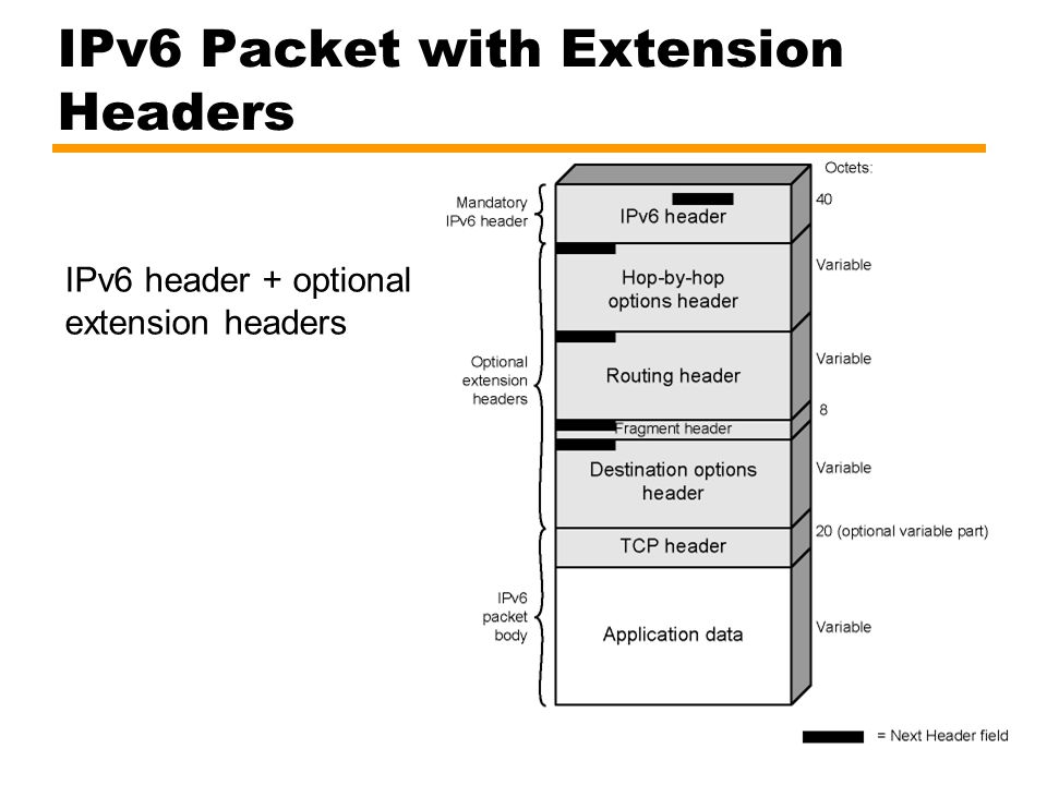 IPv6 Packet with Extension Headers IPv6 header + optional extension headers