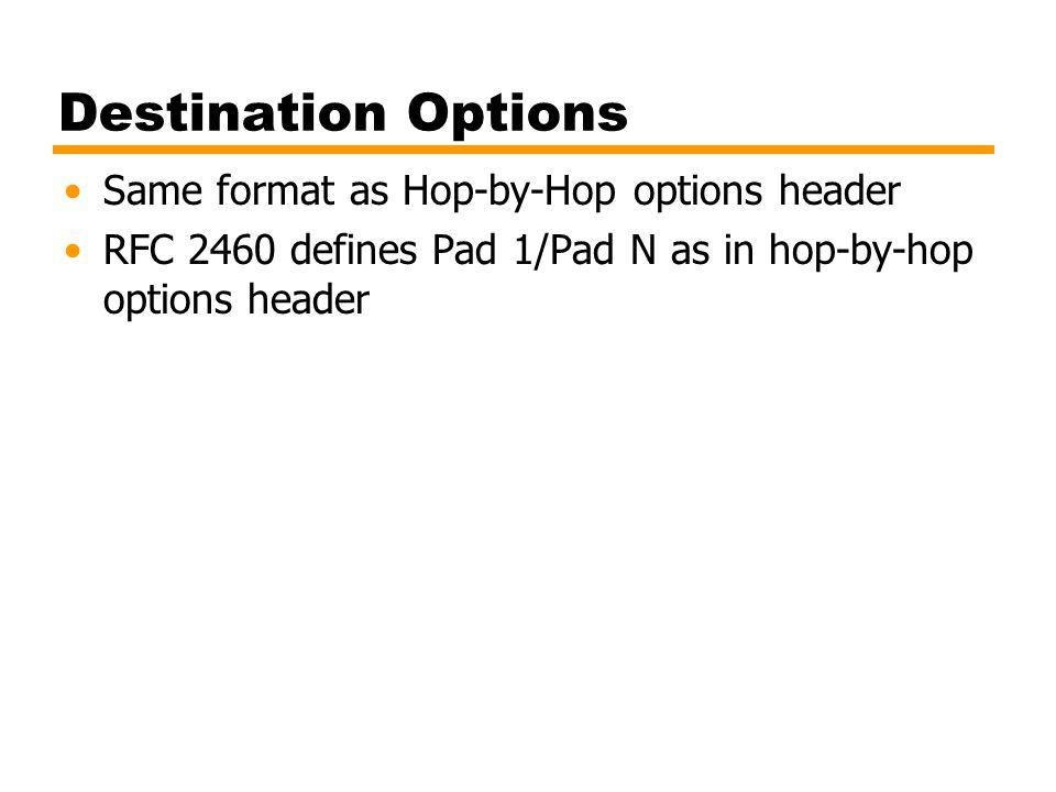 Destination Options Same format as Hop-by-Hop options header RFC 2460 defines Pad 1/Pad N as in hop-by-hop options header
