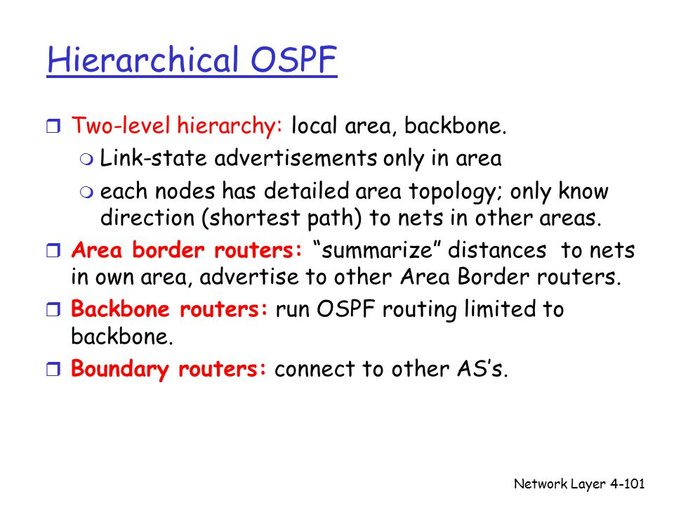 Network Layer4-101 Hierarchical OSPF r Two-level hierarchy: local area, backbone.
