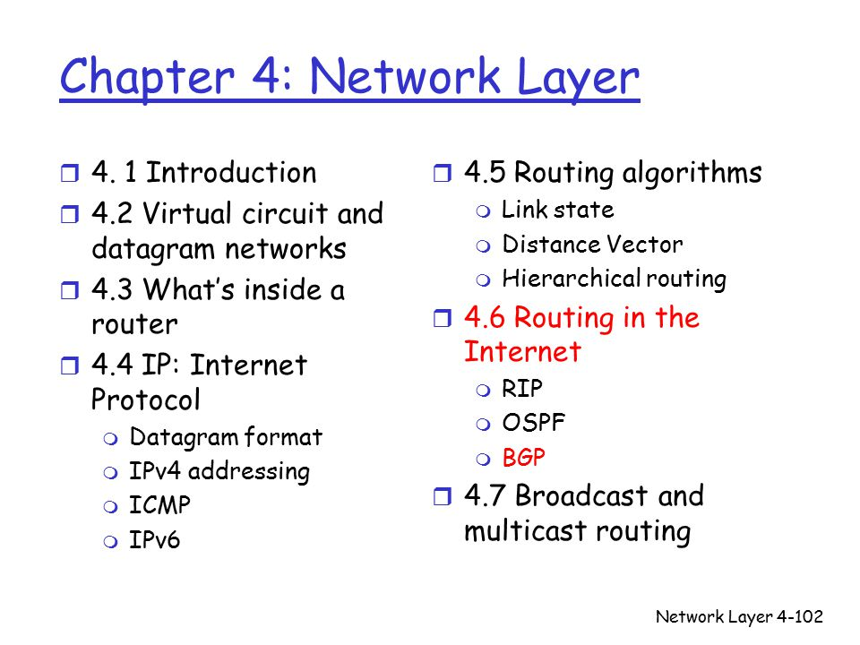 Network Layer4-102 Chapter 4: Network Layer r 4.