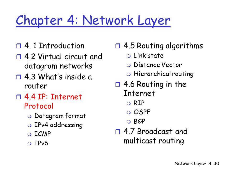 Network Layer4-30 Chapter 4: Network Layer r 4.