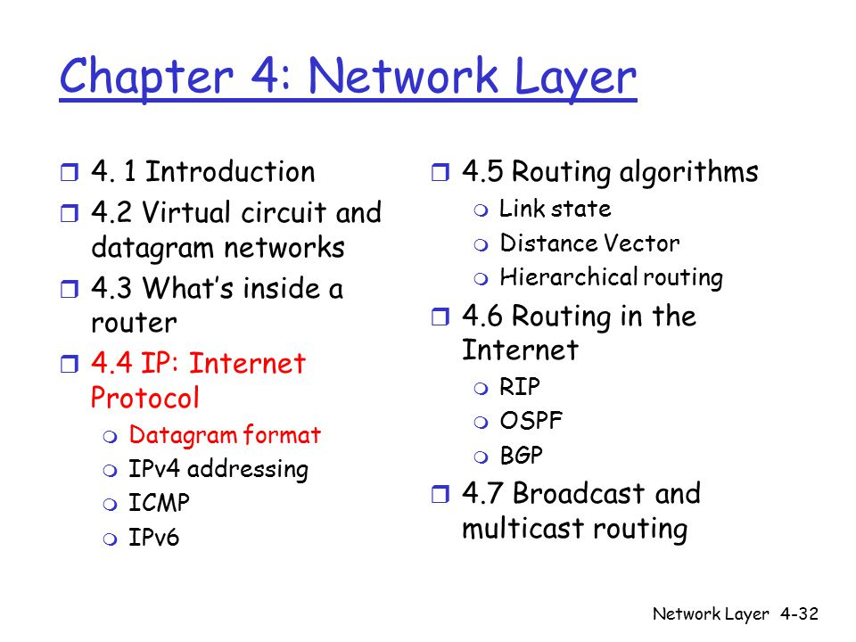 Network Layer4-32 Chapter 4: Network Layer r 4.
